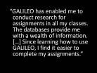 Assignments Easier to Complete with GALILEO