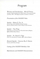 Program for GALILEO Fifth Anniversary Celebration