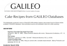 Cake Recipes from GALILEO Databases