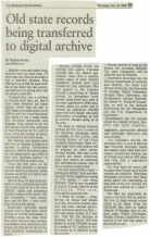 Article: Old State Records Being Transferred to Digital Archive